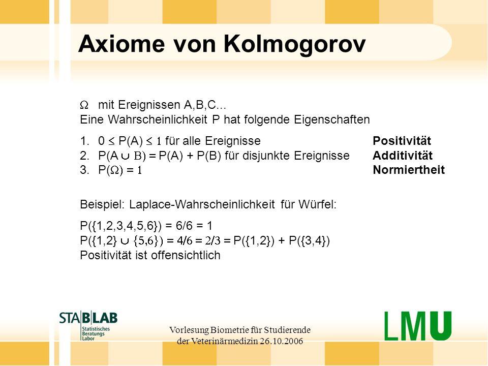 Vorlesung Biometrie für Studierende der Veterinärmedizin 26.10.2006 Axiome von Kolmogorov mit Ereignissen A,B,C... Eine Wahrscheinlichkeit P hat folge