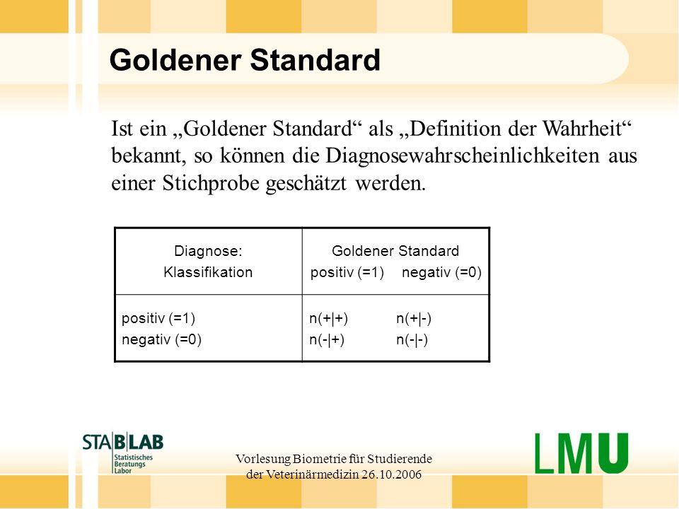 Vorlesung Biometrie für Studierende der Veterinärmedizin 26.10.2006 Goldener Standard Ist ein Goldener Standard als Definition der Wahrheit bekannt, s