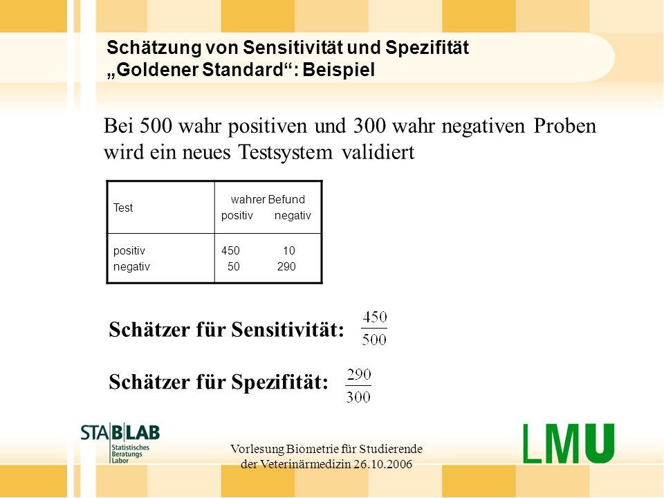 Vorlesung Biometrie für Studierende der Veterinärmedizin 26.10.2006 Schätzung von Sensitivität und Spezifität Goldener Standard: Beispiel Test wahrer