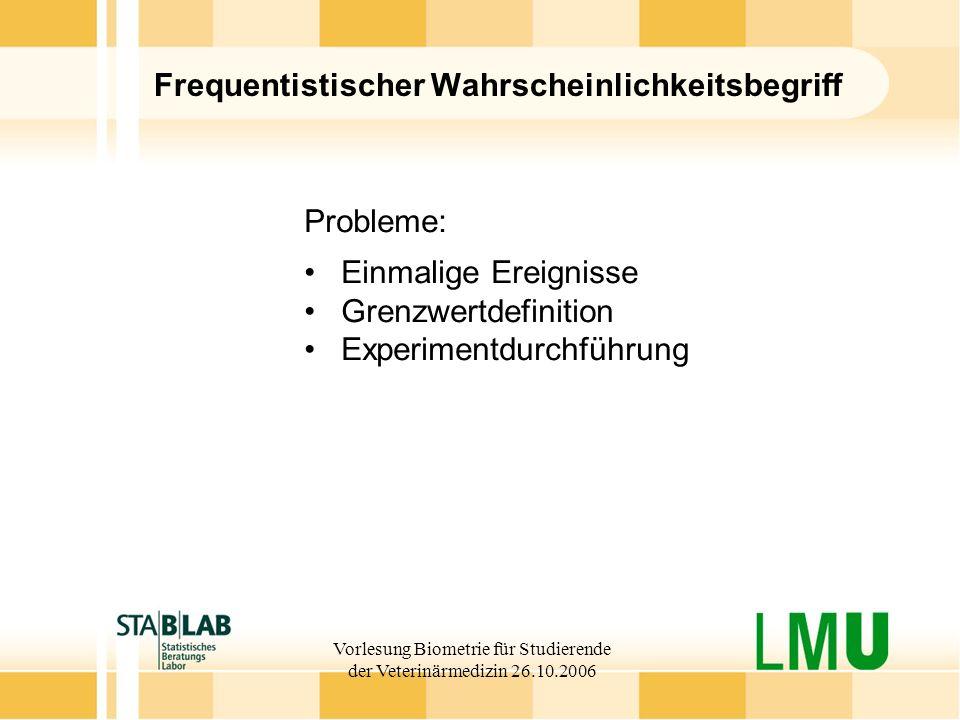 Vorlesung Biometrie für Studierende der Veterinärmedizin 26.10.2006 Frequentistischer Wahrscheinlichkeitsbegriff Probleme: Einmalige Ereignisse Grenzw