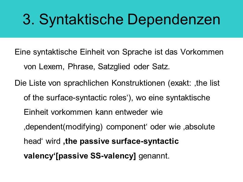 3. Syntaktische Dependenzen Eine syntaktische Einheit von Sprache ist das Vorkommen von Lexem, Phrase, Satzglied oder Satz. Die Liste von sprachlichen