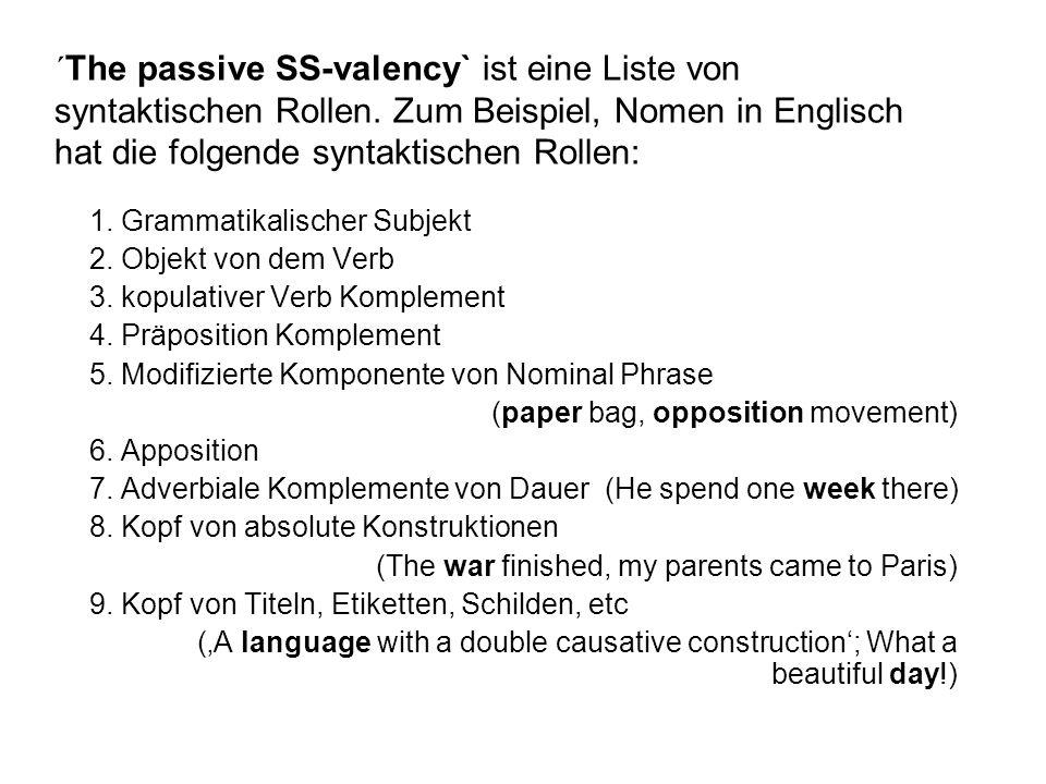 ´The passive SS-valency` ist eine Liste von syntaktischen Rollen. Zum Beispiel, Nomen in Englisch hat die folgende syntaktischen Rollen: 1. Grammatika
