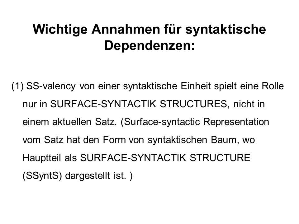 Wichtige Annahmen für syntaktische Dependenzen: (1) SS-valency von einer syntaktische Einheit spielt eine Rolle nur in SURFACE-SYNTACTIK STRUCTURES, n