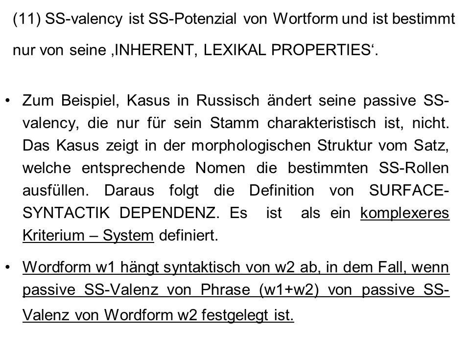 (11) SS-valency ist SS-Potenzial von Wortform und ist bestimmt nur von seine INHERENT, LEXIKAL PROPERTIES. Zum Beispiel, Kasus in Russisch ändert sein