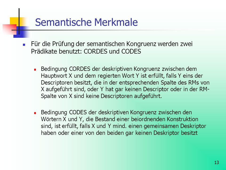 13 Semantische Merkmale Für die Prüfung der semantischen Kongruenz werden zwei Prädikate benutzt: CORDES und CODES Bedingung CORDES der deskriptiven K