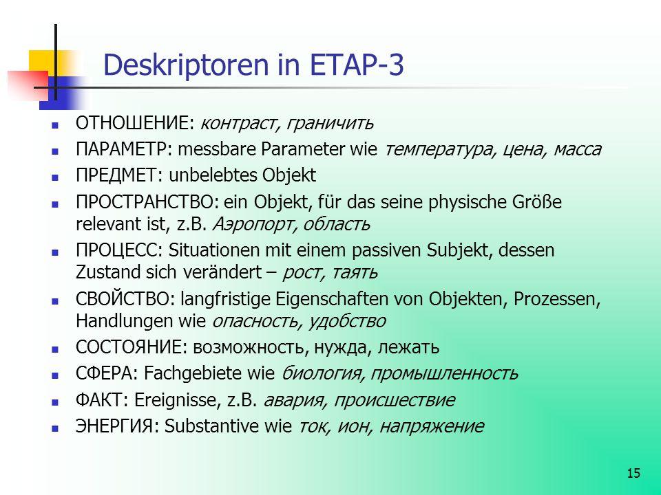 15 Deskriptoren in ETAP-3 ОТНОШЕНИЕ: контраст, граничить ПАРАМЕТР: messbare Parameter wie температура, цена, масса ПРЕДМЕТ: unbelebtes Objekt ПРОСТРАН