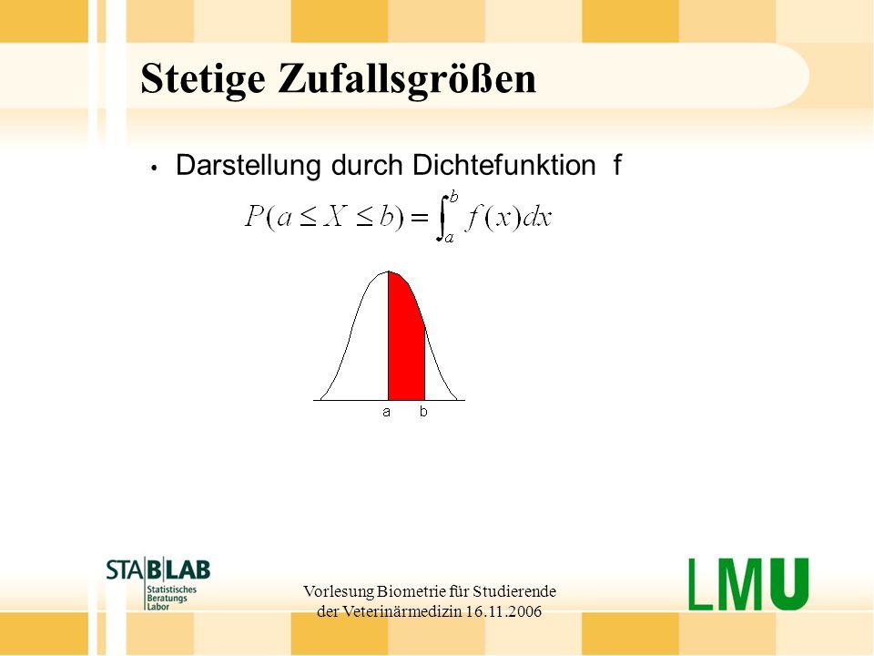 Vorlesung Biometrie für Studierende der Veterinärmedizin 16.11.2006 Stetige Zufallsgrößen Darstellung durch Dichtefunktion f