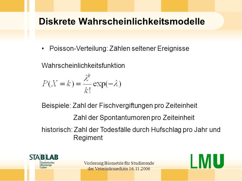 Vorlesung Biometrie für Studierende der Veterinärmedizin 16.11.2006 Diskrete Wahrscheinlichkeitsmodelle Wahrscheinlichkeitsfunktion Poisson-Verteilung