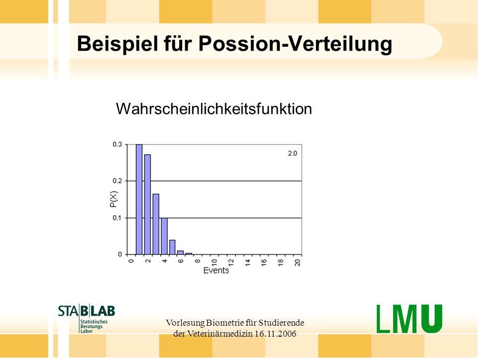 Vorlesung Biometrie für Studierende der Veterinärmedizin 16.11.2006 Beispiel für Possion-Verteilung Wahrscheinlichkeitsfunktion