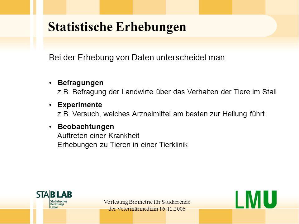 Vorlesung Biometrie für Studierende der Veterinärmedizin 16.11.2006 Statistische Erhebungen Befragungen z.B. Befragung der Landwirte über das Verhalte