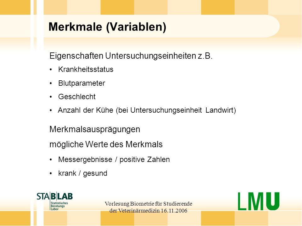Vorlesung Biometrie für Studierende der Veterinärmedizin 16.11.2006 Merkmale (Variablen) Eigenschaften Untersuchungseinheiten z.B. Krankheitsstatus Bl