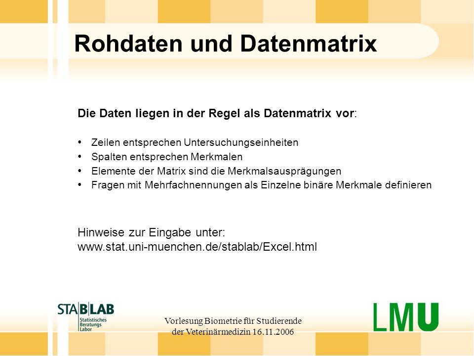 Vorlesung Biometrie für Studierende der Veterinärmedizin 16.11.2006 Rohdaten und Datenmatrix Die Daten liegen in der Regel als Datenmatrix vor: Zeilen