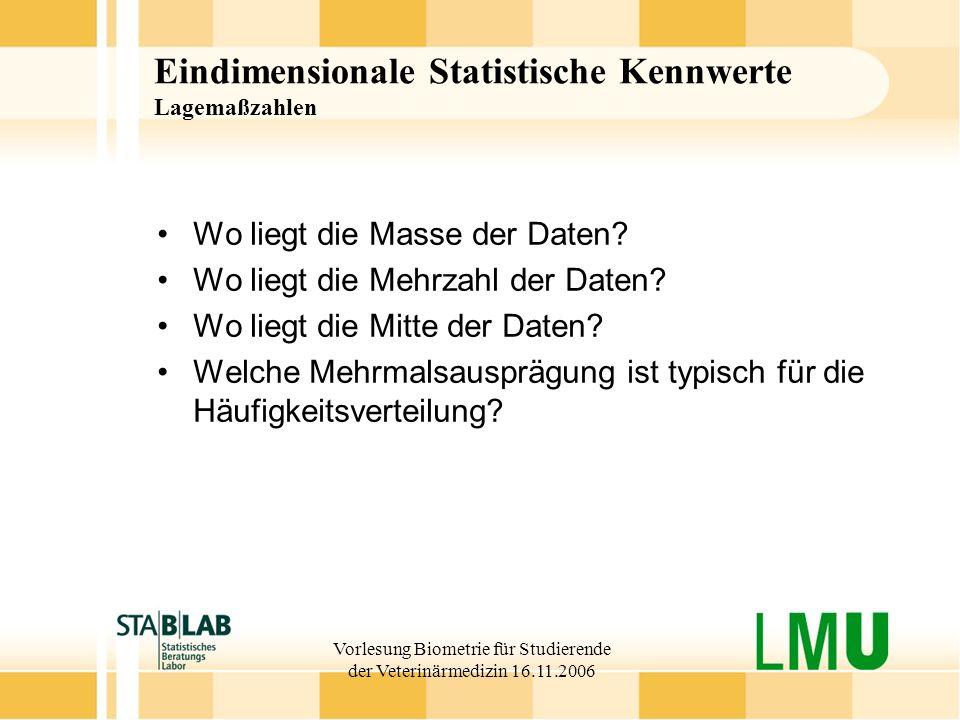 Vorlesung Biometrie für Studierende der Veterinärmedizin 16.11.2006 Eindimensionale Statistische Kennwerte Lagemaßzahlen Wo liegt die Masse der Daten?
