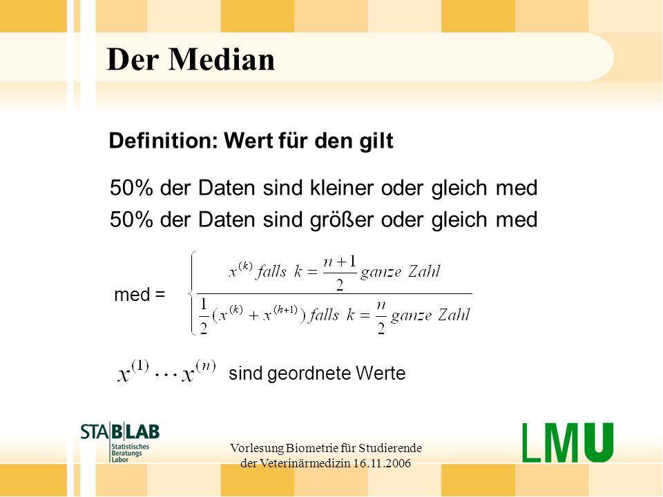 Vorlesung Biometrie für Studierende der Veterinärmedizin 16.11.2006 Der Median 50% der Daten sind kleiner oder gleich med 50% der Daten sind größer od