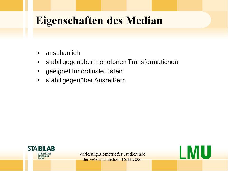 Vorlesung Biometrie für Studierende der Veterinärmedizin 16.11.2006 Eigenschaften des Median anschaulich stabil gegenüber monotonen Transformationen g