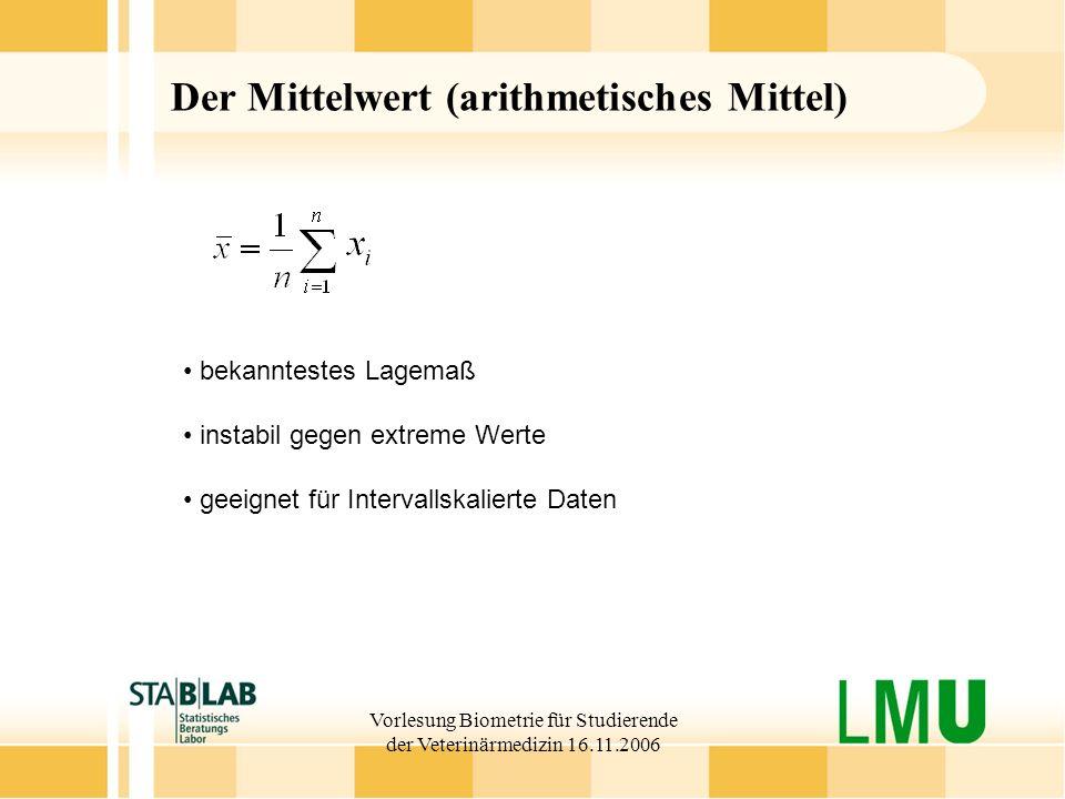 Vorlesung Biometrie für Studierende der Veterinärmedizin 16.11.2006 Der Mittelwert (arithmetisches Mittel) bekanntestes Lagemaß instabil gegen extreme