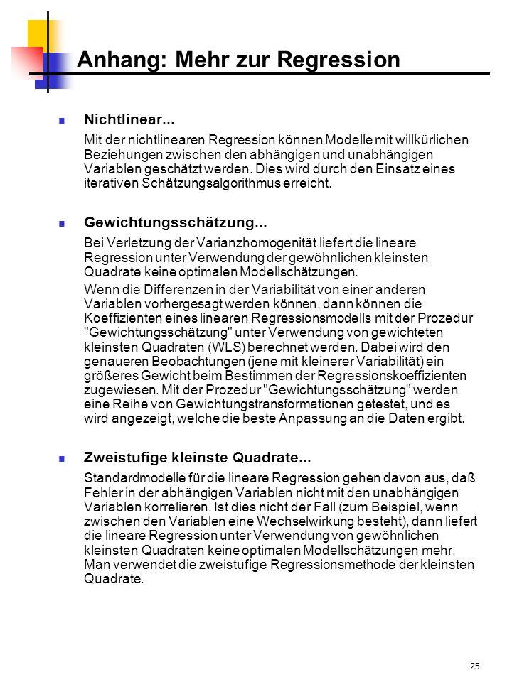 25 Anhang: Mehr zur Regression Nichtlinear...