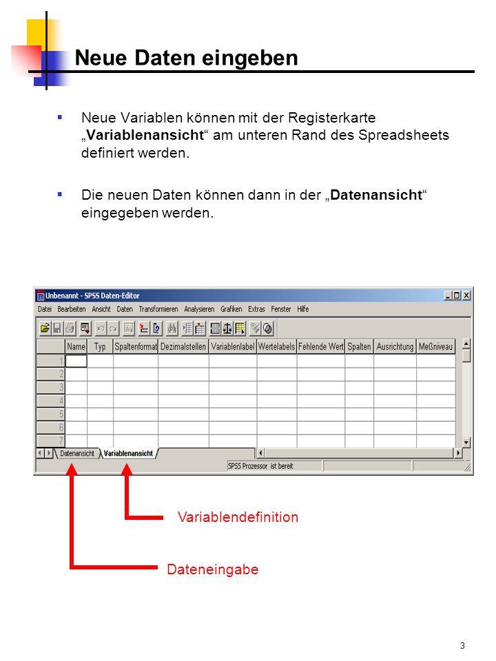 3 Neue Daten eingeben Neue Variablen können mit der RegisterkarteVariablenansicht am unteren Rand des Spreadsheets definiert werden. Die neuen Daten k