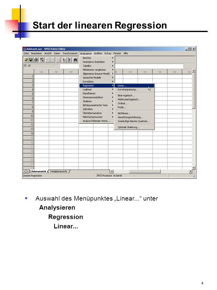 5 Dialogbox lineare Regression Es öffnet sich die Dialogbox Lineare Regression Alle zur Verfügung stehenden Variablen befinden sich im linken Feld Zur Variablenselektion ist die Methode Einschlußverfahren voreingestellt