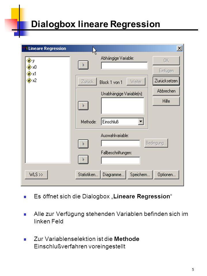 5 Dialogbox lineare Regression Es öffnet sich die Dialogbox Lineare Regression Alle zur Verfügung stehenden Variablen befinden sich im linken Feld Zur