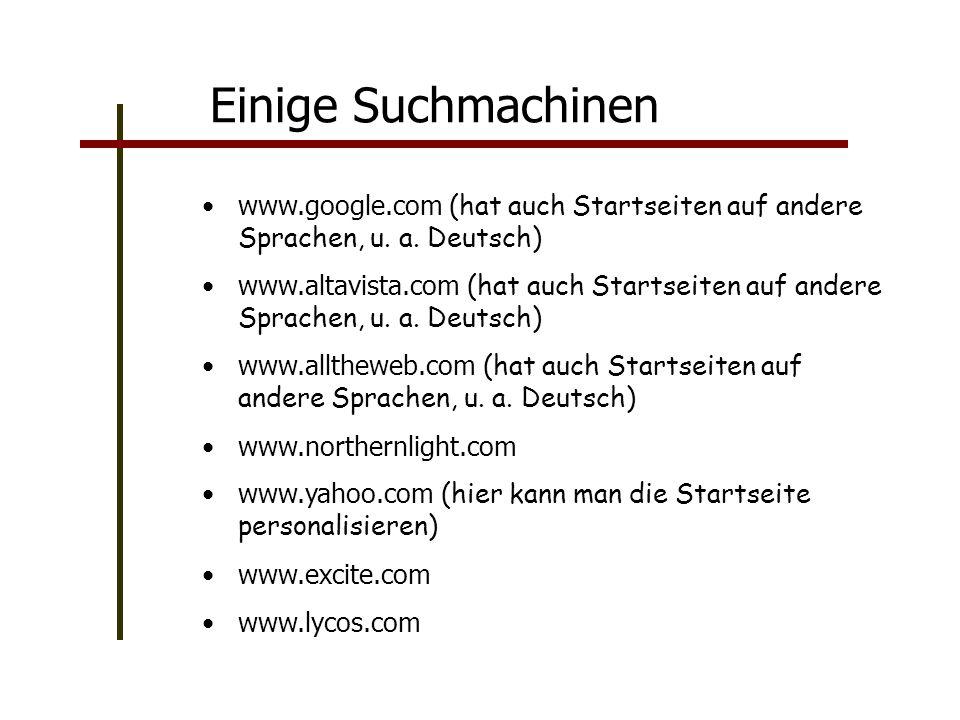Einige Suchmachinen www.google.com (hat auch Startseiten auf andere Sprachen, u.