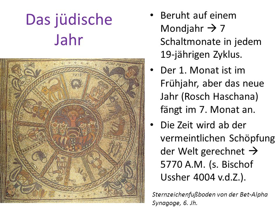 Das jüdische Jahr Beruht auf einem Mondjahr 7 Schaltmonate in jedem 19-jährigen Zyklus. Der 1. Monat ist im Frühjahr, aber das neue Jahr (Rosch Hascha