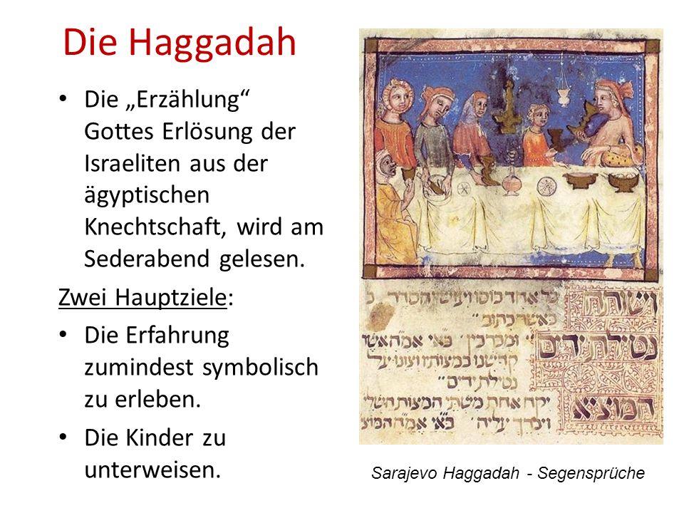 Die Haggadah Die Erzählung Gottes Erlösung der Israeliten aus der ägyptischen Knechtschaft, wird am Sederabend gelesen. Zwei Hauptziele: Die Erfahrung