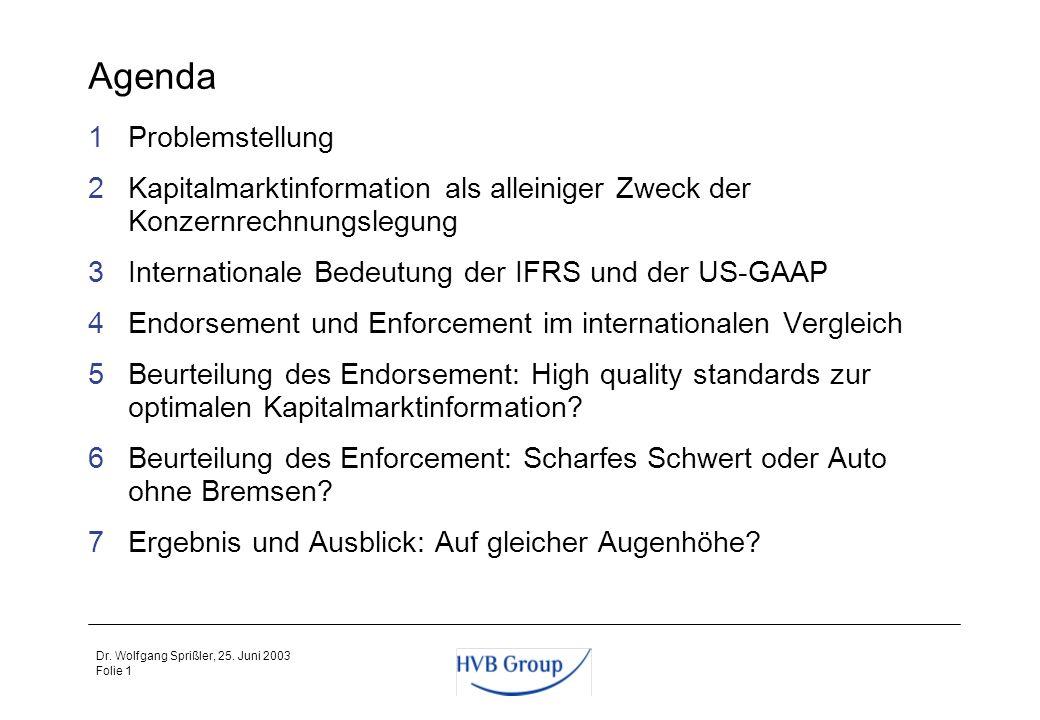 Durch Endorsement und Enforcement auf Augenhöhe mit der SEC? Dr. Wolfgang Sprißler, CFO Mitglied des Konzernvorstands der HVB Group