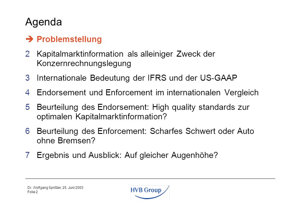 Folie 1 Dr. Wolfgang Sprißler, 25. Juni 2003 Agenda 1Problemstellung 2Kapitalmarktinformation als alleiniger Zweck der Konzernrechnungslegung 3Interna