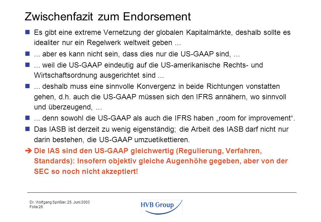 Folie 25 Dr. Wolfgang Sprißler, 25. Juni 2003 Welche Rolle spielt das DRSC - heute und in Zukunft? Die Bindungswirkung der DRS ist derzeit und in Zuku