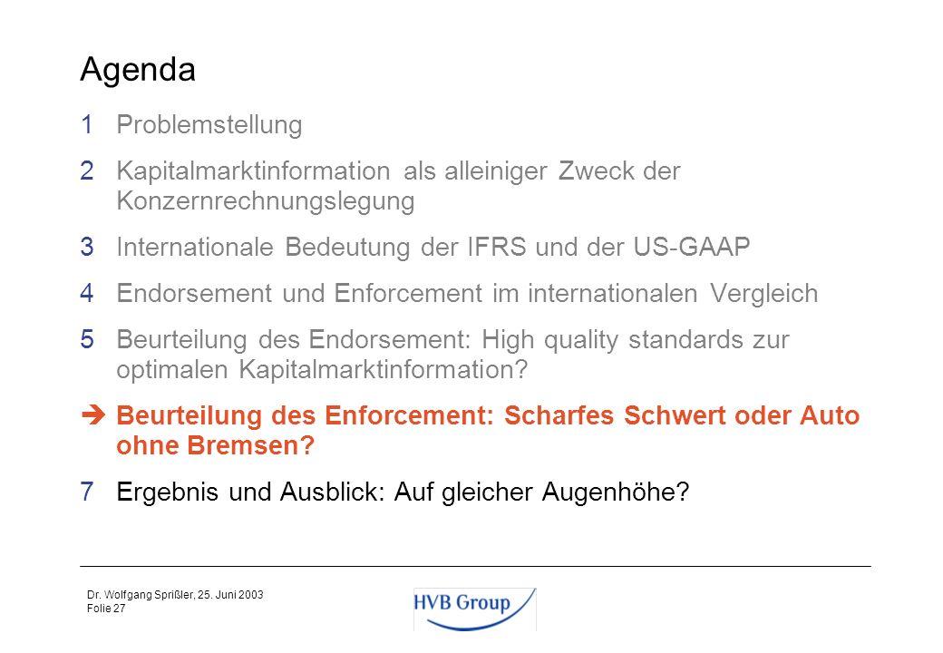 Folie 26 Dr. Wolfgang Sprißler, 25. Juni 2003 Zwischenfazit zum Endorsement Es gibt eine extreme Vernetzung der globalen Kapitalmärkte, deshalb sollte