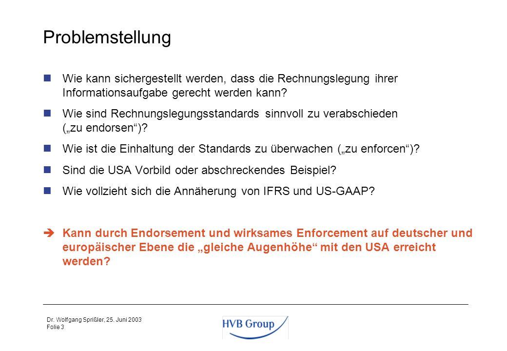 Folie 2 Dr. Wolfgang Sprißler, 25. Juni 2003 Agenda Problemstellung 2Kapitalmarktinformation als alleiniger Zweck der Konzernrechnungslegung 3Internat