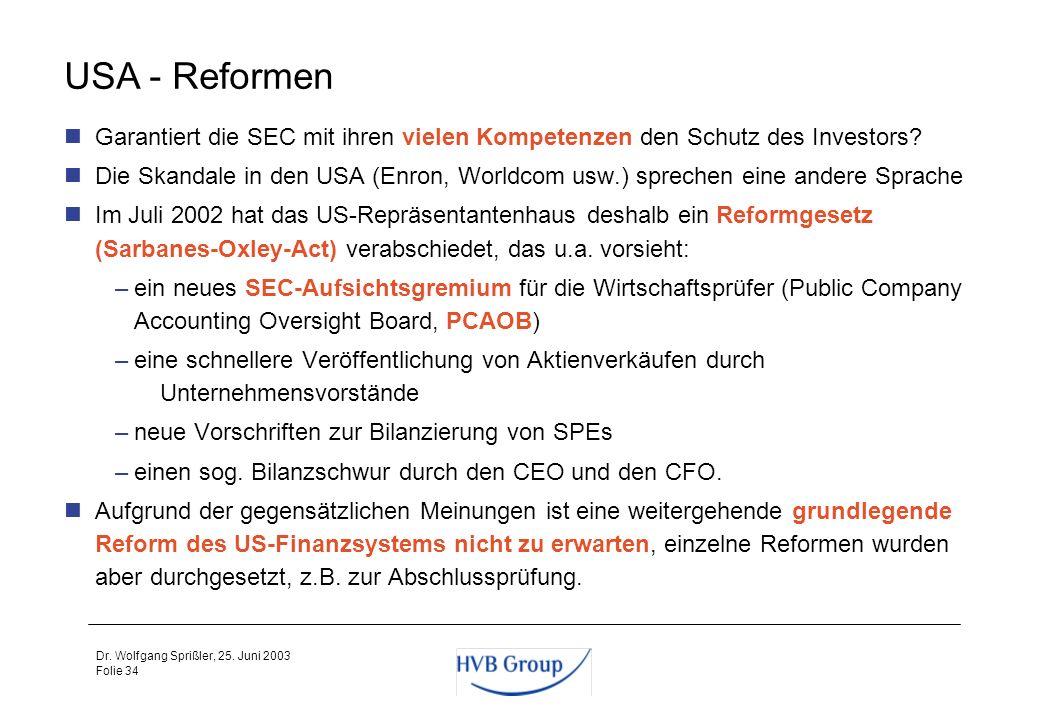 Folie 33 Dr. Wolfgang Sprißler, 25. Juni 2003 USA - Prüfung und Sanktionen Der SEC sind von börsennotierten Unternehmen Unterlagen nach strengen Formv