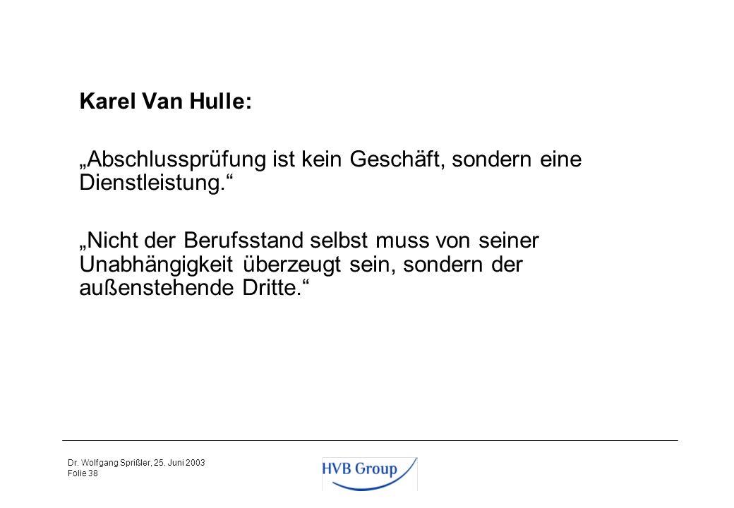 Folie 37 Dr. Wolfgang Sprißler, 25. Juni 2003 Vorschläge der Baums-Kommission und des Arbeitskreises Abschlussprüfung und Corporate Governance zur Ver
