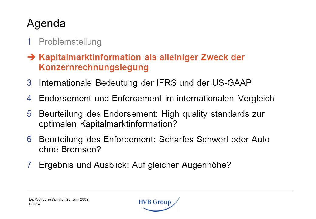 Folie 3 Dr. Wolfgang Sprißler, 25. Juni 2003 Problemstellung Wie kann sichergestellt werden, dass die Rechnungslegung ihrer Informationsaufgabe gerech