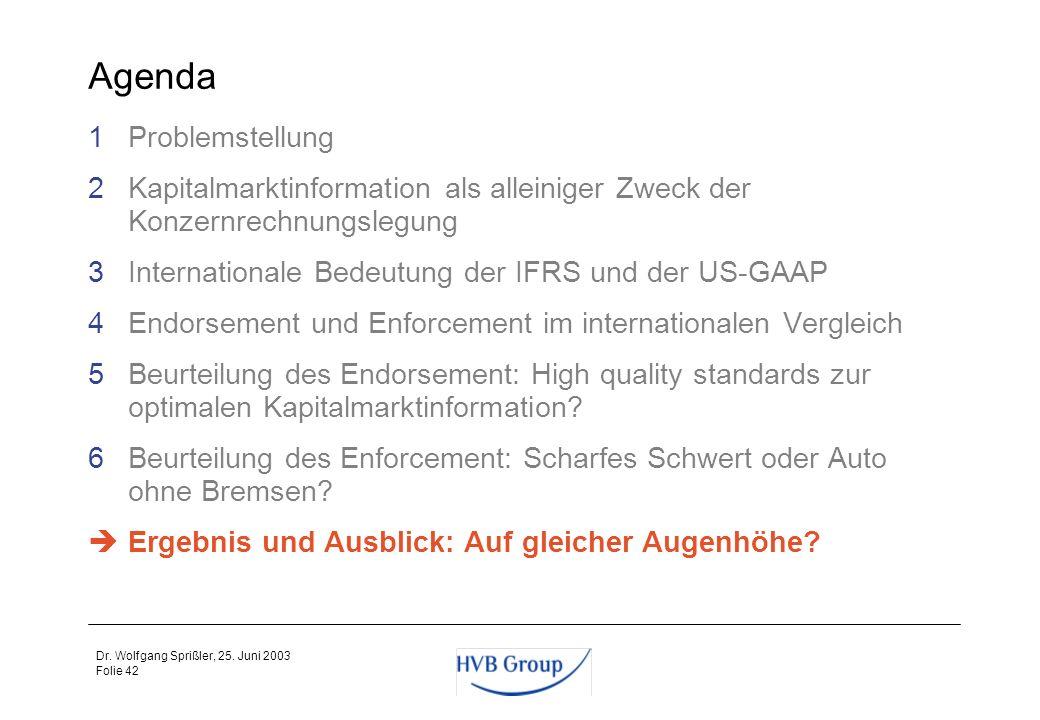 Folie 41 Dr. Wolfgang Sprißler, 25. Juni 2003 Zwischenfazit zum Enforcement Um den IFRS eine mit den US-GAAP vergleichbare Akzeptanz zu verschaffen, m
