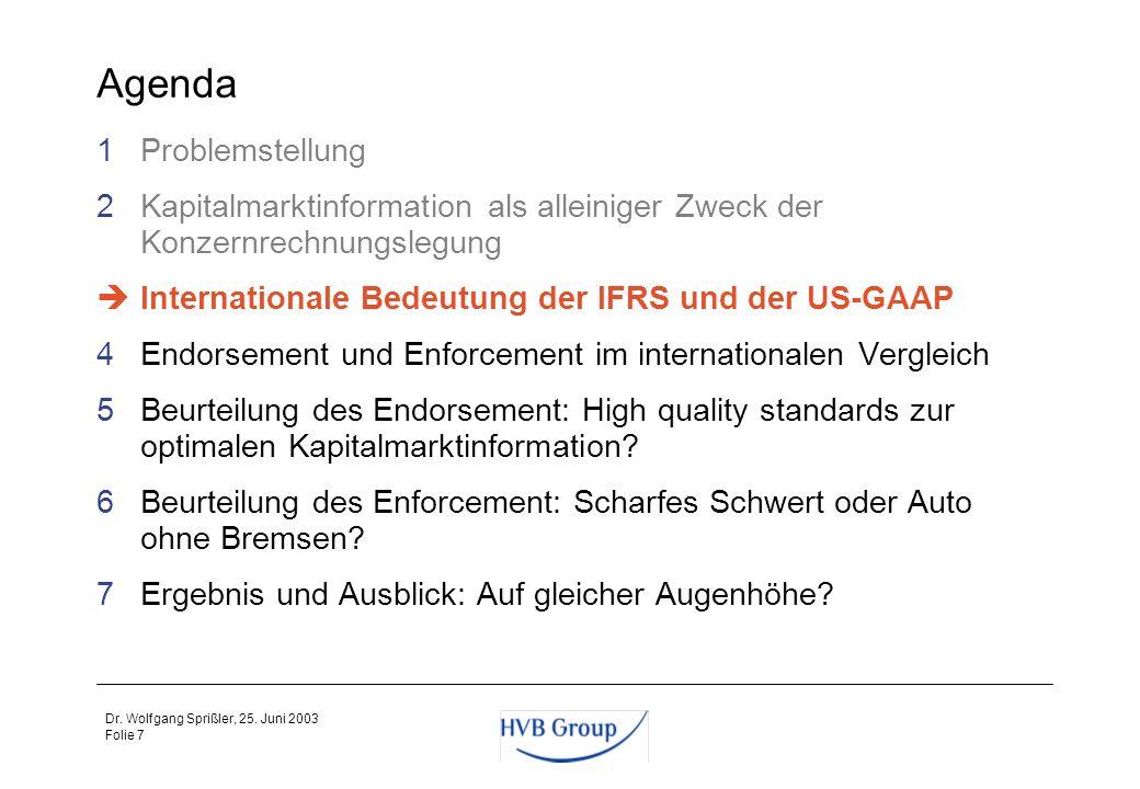 Folie 6 Dr. Wolfgang Sprißler, 25. Juni 2003 Rechnungslegungssystem und Enforcement dienen zur Qualitätssicherung der Information Adressat Unternehmen