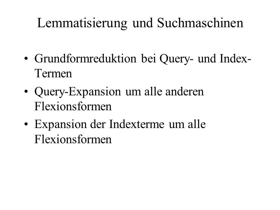 Lemmatisierung und Suchmaschinen Grundformreduktion bei Query- und Index- Termen Query-Expansion um alle anderen Flexionsformen Expansion der Indexter