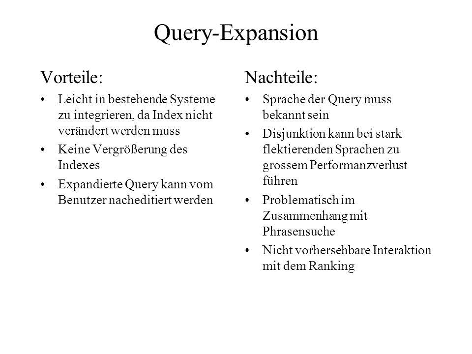 Query-Expansion Vorteile: Leicht in bestehende Systeme zu integrieren, da Index nicht verändert werden muss Keine Vergrößerung des Indexes Expandierte