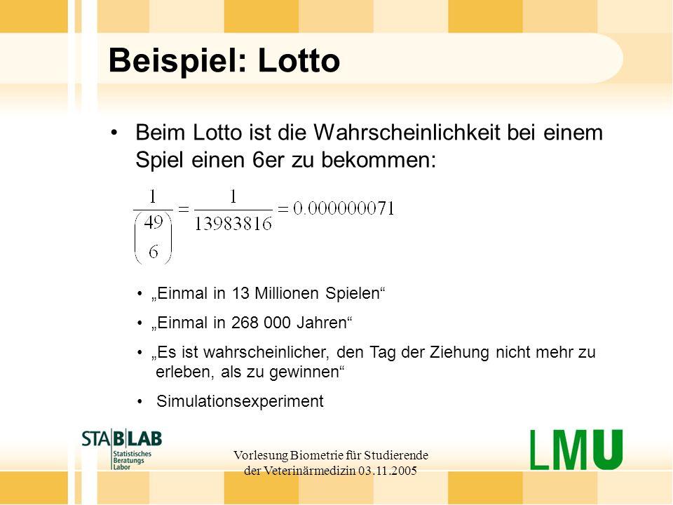 Vorlesung Biometrie für Studierende der Veterinärmedizin 03.11.2005 Beispiel: Lotto Beim Lotto ist die Wahrscheinlichkeit bei einem Spiel einen 6er zu bekommen: Einmal in 13 Millionen Spielen Einmal in 268 000 Jahren Es ist wahrscheinlicher, den Tag der Ziehung nicht mehr zu erleben, als zu gewinnen Simulationsexperiment