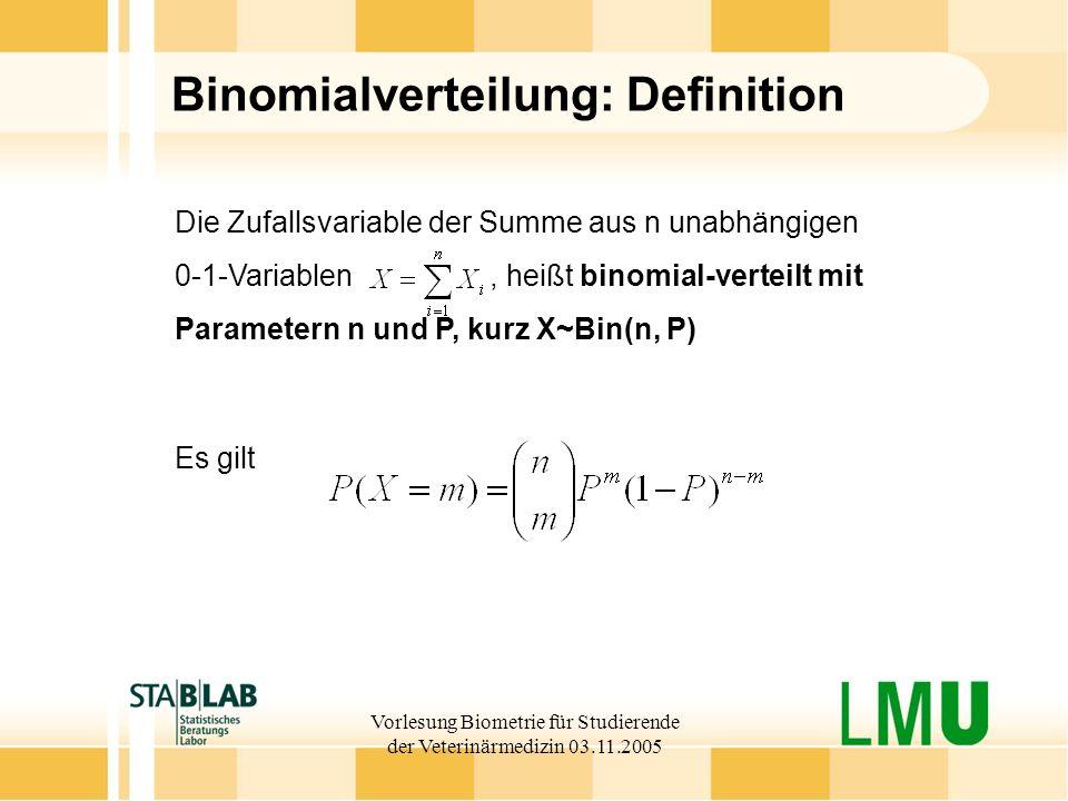 Vorlesung Biometrie für Studierende der Veterinärmedizin 03.11.2005 Binomialverteilung: Definition Die Zufallsvariable der Summe aus n unabhängigen 0-1-Variablen, heißt binomial-verteilt mit Parametern n und P, kurz X~Bin(n, P) Es gilt