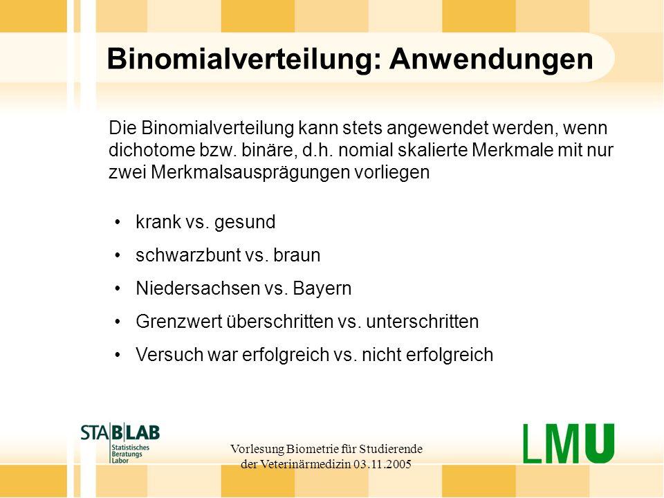 Vorlesung Biometrie für Studierende der Veterinärmedizin 03.11.2005 Binomialverteilung: Anwendungen krank vs.