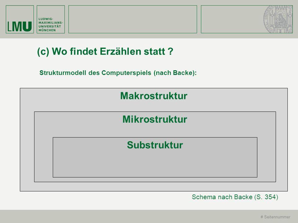 # Seitennummer (c) Wo findet Erzählen statt ? Strukturmodell des Computerspiels (nach Backe): Schema nach Backe (S. 354) Makrostruktur Mikrostruktur S