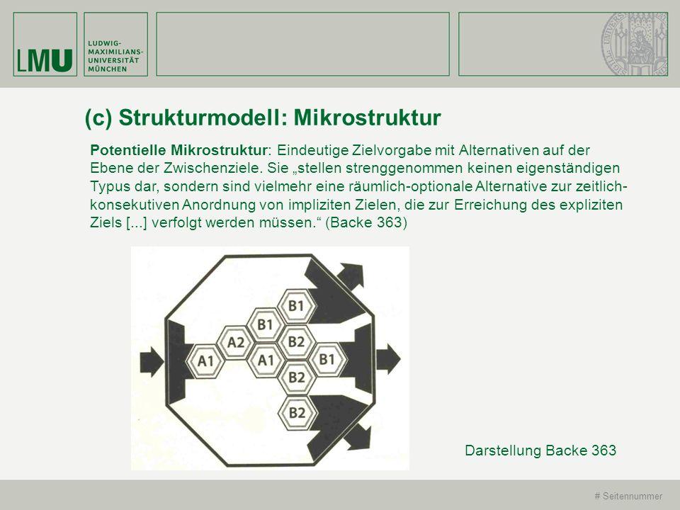 # Seitennummer (c) Strukturmodell: Mikrostruktur Potentielle Mikrostruktur: Eindeutige Zielvorgabe mit Alternativen auf der Ebene der Zwischenziele. S