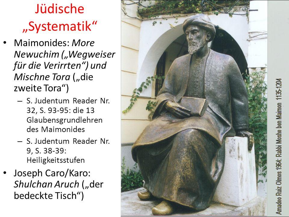 Jüdische Systematik Maimonides: More Newuchim (Wegweiser für die Verirrten) und Mischne Tora (die zweite Tora) – S.