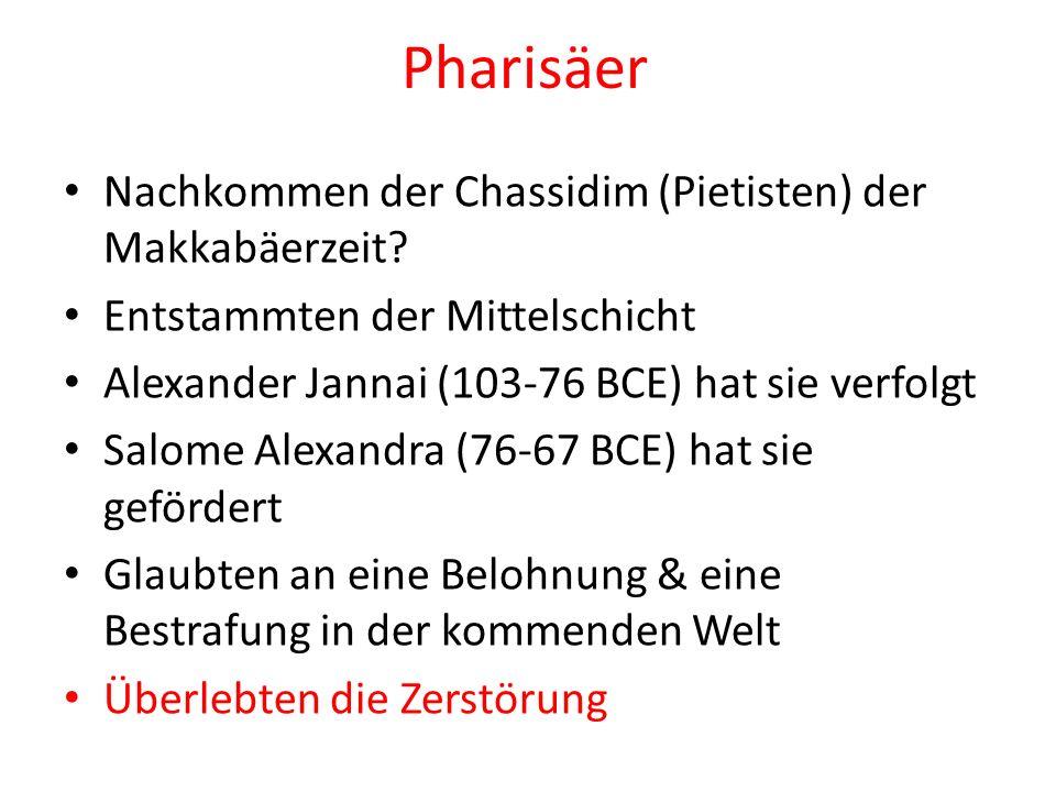 Pharisäer Nachkommen der Chassidim (Pietisten) der Makkabäerzeit? Entstammten der Mittelschicht Alexander Jannai (103-76 BCE) hat sie verfolgt Salome
