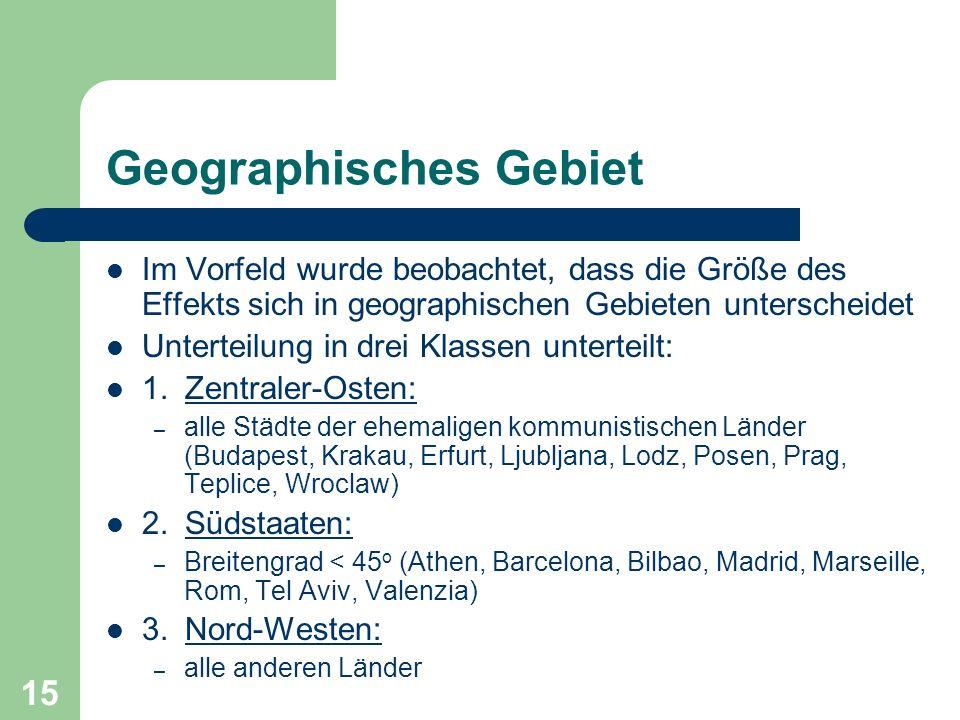 15 Geographisches Gebiet Im Vorfeld wurde beobachtet, dass die Größe des Effekts sich in geographischen Gebieten unterscheidet Unterteilung in drei Kl