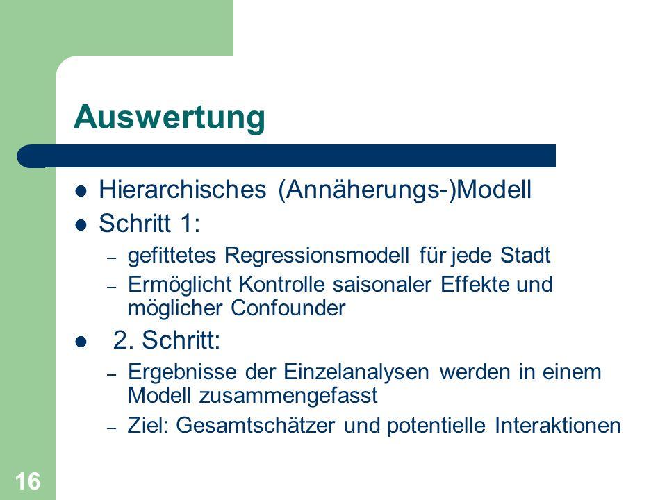 16 Auswertung Hierarchisches (Annäherungs-)Modell Schritt 1: – gefittetes Regressionsmodell für jede Stadt – Ermöglicht Kontrolle saisonaler Effekte u