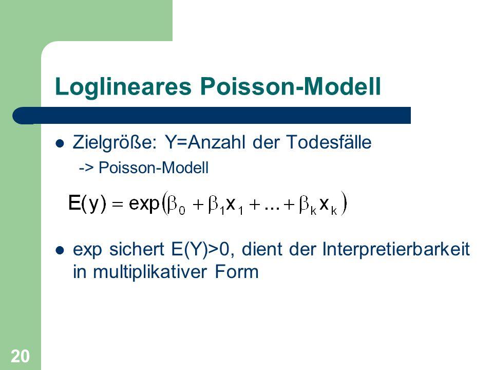 20 Loglineares Poisson-Modell Zielgröße: Y=Anzahl der Todesfälle -> Poisson-Modell exp sichert E(Y)>0, dient der Interpretierbarkeit in multiplikative