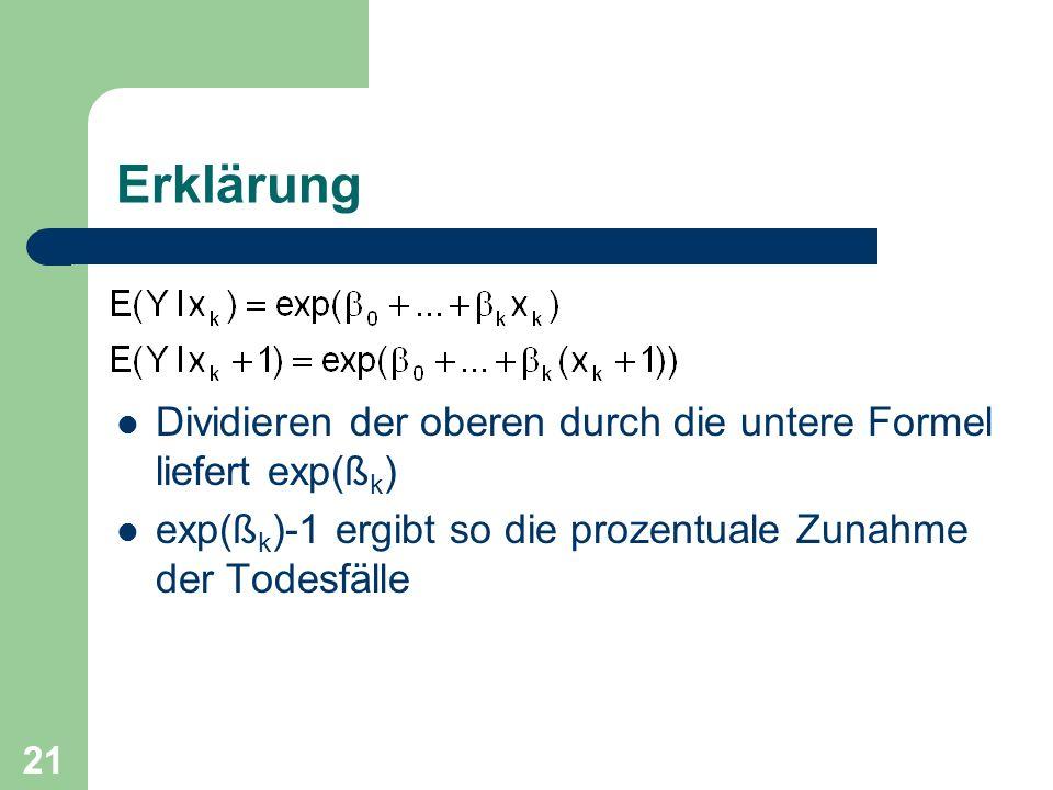 21 Erklärung Dividieren der oberen durch die untere Formel liefert exp(ß k ) exp(ß k )-1 ergibt so die prozentuale Zunahme der Todesfälle